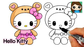 How to Draw Hello Kitty Teddy Bear Onesie