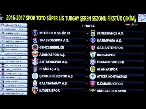 Spor Toto Süper Lig'de 2016-2017 Sezonunun Fikstürü
