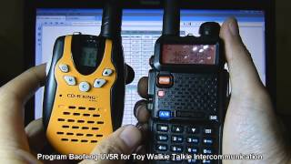 Baofeng UV-5R & Toy Walkie Talkie Intercommunication(Instructions on how to manually program the Baofeng UV-5R so you can use it to communicate with the bubble pack radios / blister pack walkie talkies most ..., 2013-12-10T21:28:36.000Z)