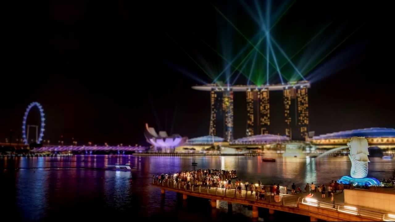 time lapse singapore marina bay sands light show youtube