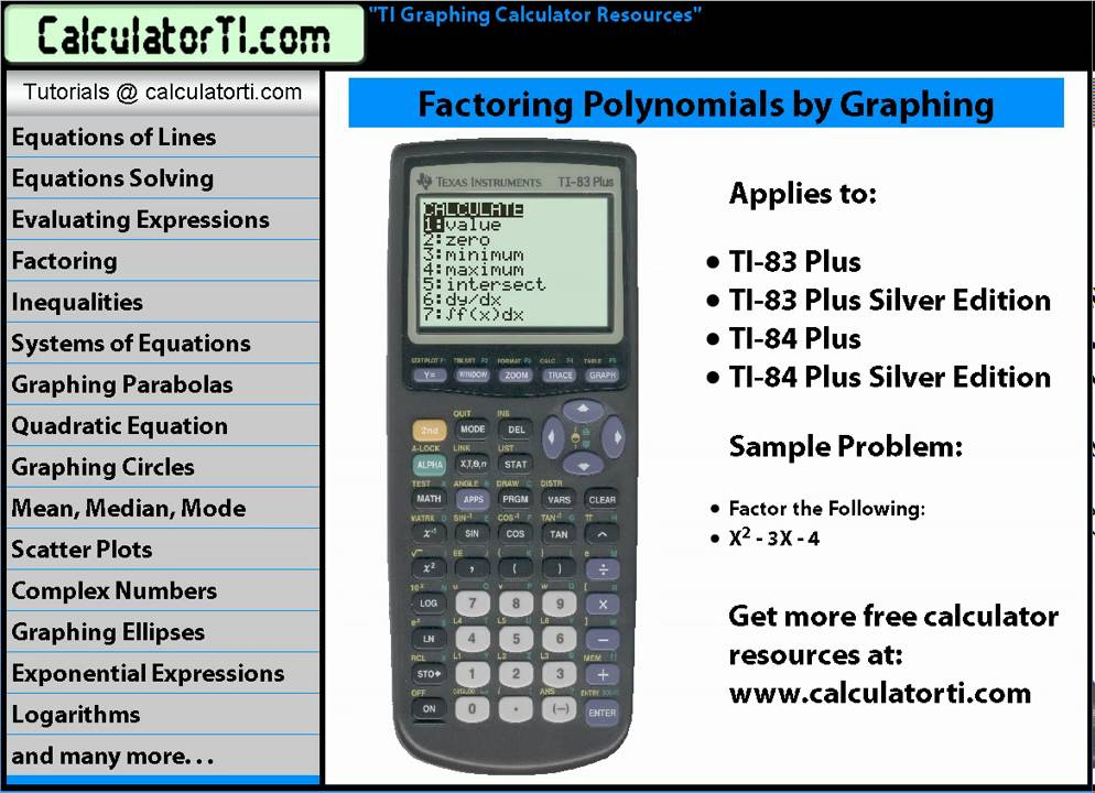 TI Tutorials, Factoring Polynomials by Graphing, TI-83, TI-83 Plus ...