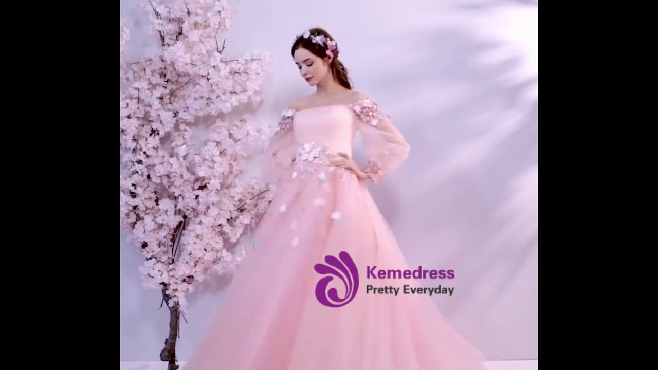 048a9384f kemedress In Stock Ship in 48 Hours Pink Tulle Puff Sleeve Appliques  Quinceanera Dresses