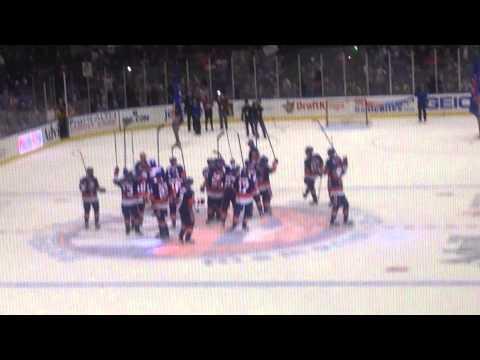 Post-game Celebration At Nassau Coliseum After Islanders Win Over Oilers 2/10/15
