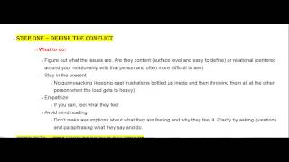 Conflict Resolution Stages