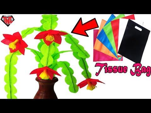Make Cactus Flower Branches Using Old Tissue Bag | DIY Christmas Cactus | Best Reuse Idea