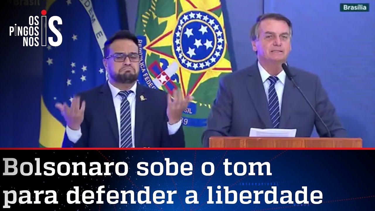 Bolsonaro fala sobre manifestações e cita decreto pela liberdade; veja discurso completo