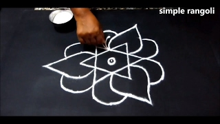 simple friday kolam designs with dots 7x4 || innovative rangoli designs || creative small dots kolam
