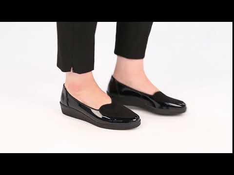 c01645159f58f Gabor Blanche Womens Black Patent Suede Wide Fit Ballerina Shoes ...