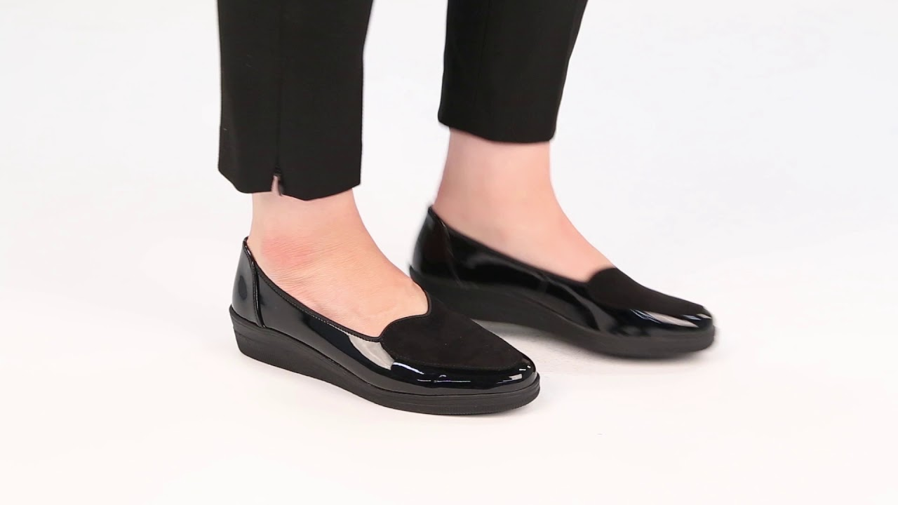 c0fd8ebaedb55 Gabor Blanche Womens Black Patent Suede Wide Fit Ballerina Shoes - YouTube