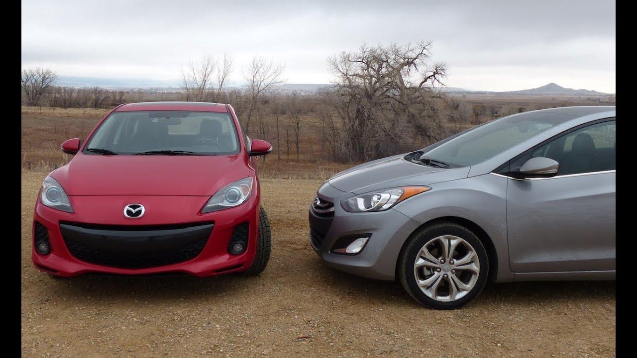 2013 Mazda3 vs Hyundai Elantra GT 0-60 MPH Performance Mashup Review ...
