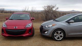 2013 Mazda3 vs Hyundai Elantra GT 0 60 MPH Performance Mashup Review