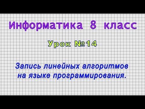 Информатика 8 класс (Урок№14 - Запись линейных алгоритмов на языке программирования.)