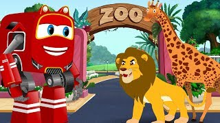 Lion Chases The ZOO Animals and Kids rescued by Supercar Rikki | Cars Cartoon Song