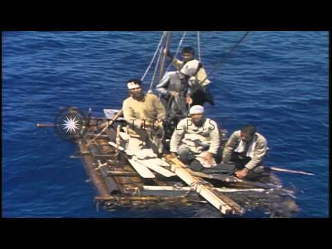 Japanese survivors aboard a life raft underway in the Pacific Ocean after the end...HD Stock Footage