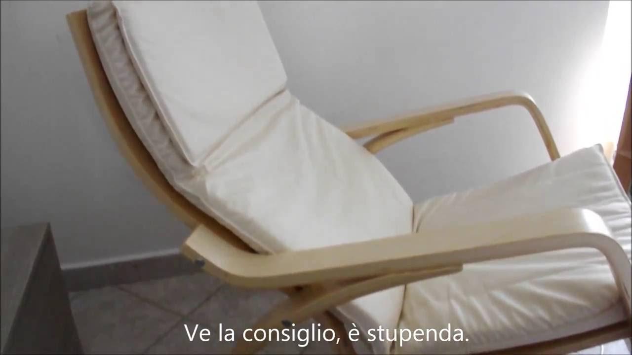 Sedia a dondolo in legno comoda rilassante con cuscino in - Sedia dondolo ikea ...