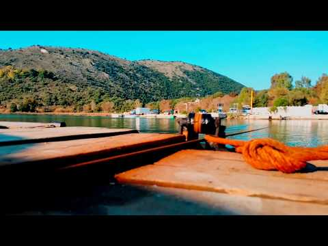 Lundra e Butrintit. Cable ferry, Southern Albania