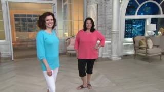Quacker Factory Grommet 3/4 Sleeve T-shirt with Sleeve Detail on QVC