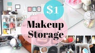 $1 Makeup Organization Vanity | Makeup Organization and Storage Dollar Tree | Vanity Makeup Storage