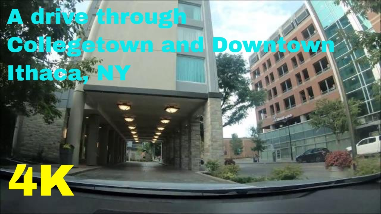 A drive through Collegetown and Downtown Ithaca, N Y in 4K Ultra HD