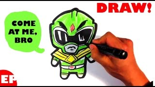 How to Draw the Green Power Ranger(Cute) - Easy Pictures to Draw