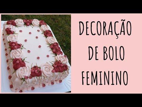 DECORAÇÃO DE BOLO FEMININO | Bolo Retangular Floral