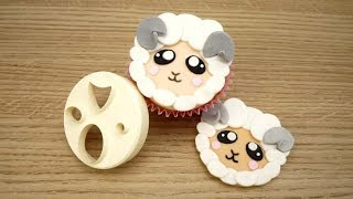 How To Make A Sugar Sheep Cupcake Topper Using The FMM Mix &#39n&#39 Match Face Cutter