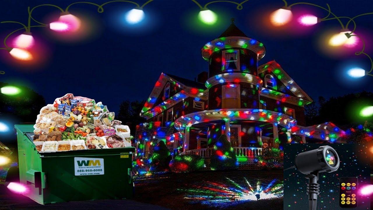 black friday dumpster dive found christmas laser lights plus a ton of food - Black Friday Christmas Lights