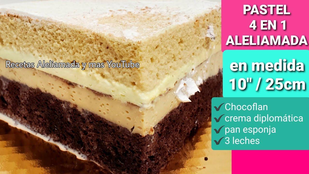 Download como hacer pastel 4 en 1 con chocoflan y relleno crema diplomatica con pan esponja | aleliamada