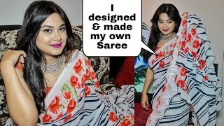 HOW TO DESIGN YOUR OWN RUFFLE SAREE | SAREE DRAPING WITH MAKEUP & HAIR For Festival & Marriage