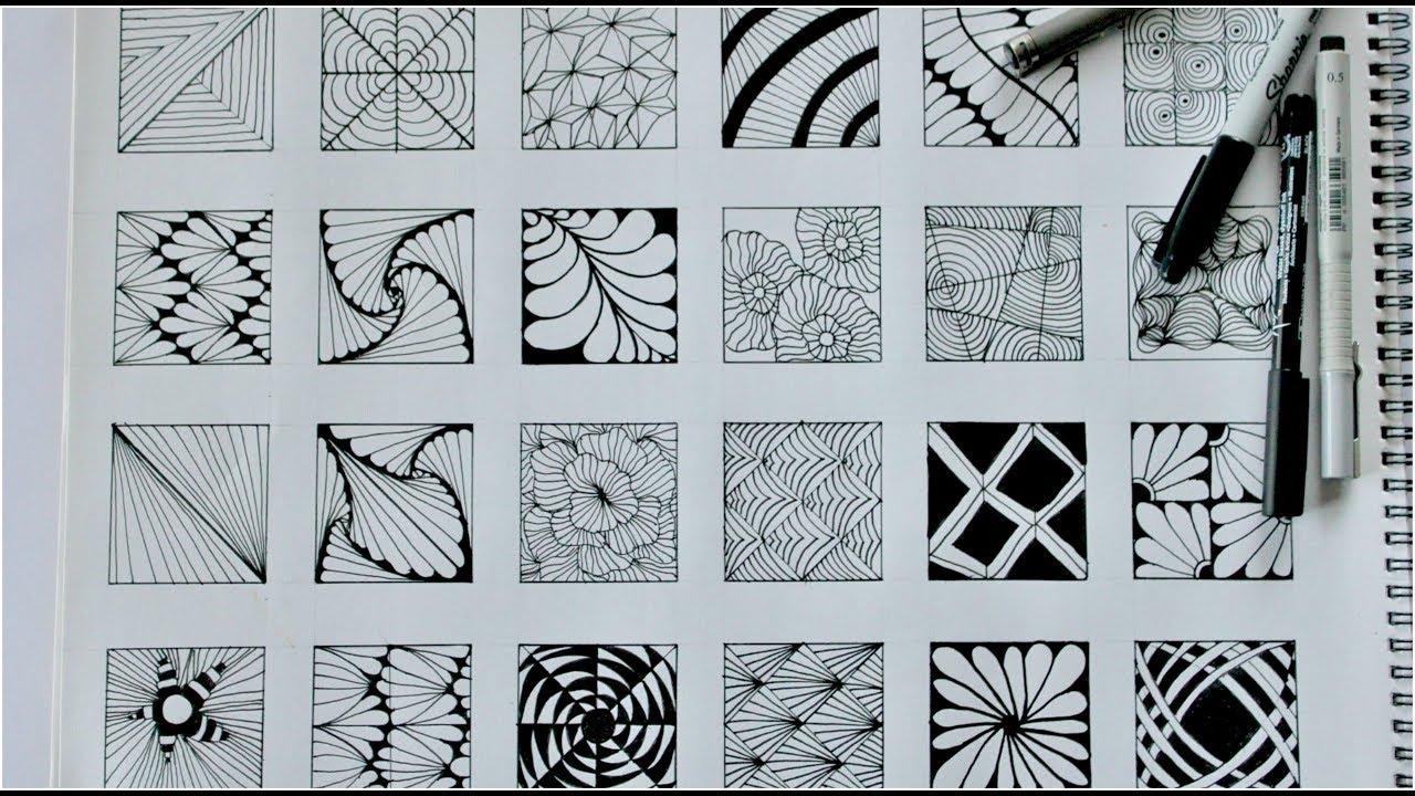 24 zentangle patterns || 24 Doodle Patterns, Zentangle Patterns, Mandala Patterns