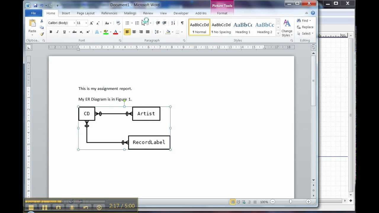 Er Diagram In Dia 3 Of 3  Using The Diagram In Word