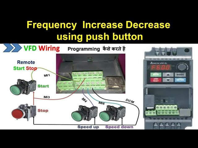 [SCHEMATICS_4PO]  🔴 Delta VFD start stop and frequency increase and decrease using Remote  push button in hindi - YouTube | Delta Inverter Wiring Diagram |  | YouTube