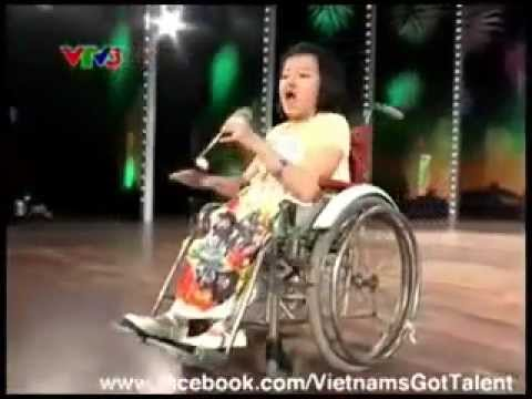 Girl in wheelchair sings Let