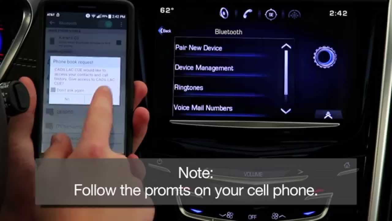 How To Pair A Cell Phone By Bluetooth With Cadillac Cue