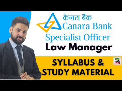 Canara Bank Specialist Officer: Law Manager 2020