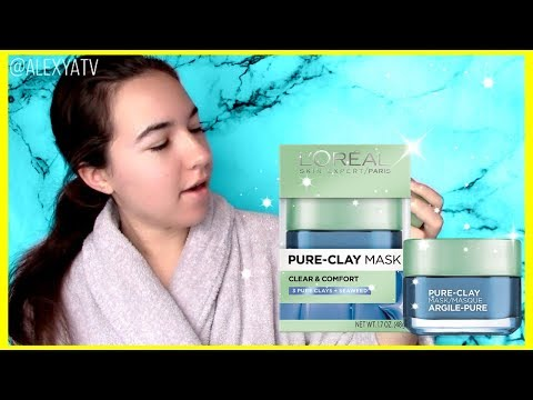 L'Oreal Pure Clay Mask Seaweed Review! | Skincare Routine Acne Loreal Purify Blue Face Mask Demo!