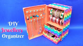 Bangle Stand making at home from waste shoebox | Best out of waste | DIY Jewellery Organizer