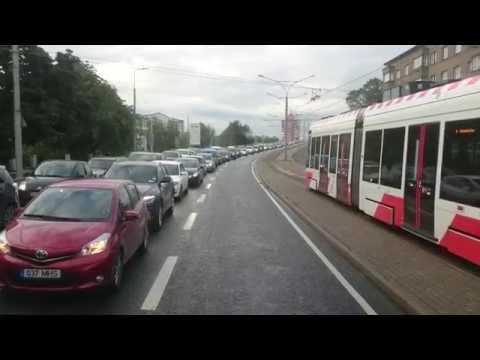 Tallinn CAF tram and bus lane 60FPS 1080P