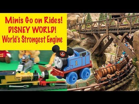 THOMAS & FRIENDS Minis Go on Rides at DISNEY WORLD World's Strongest Engine!