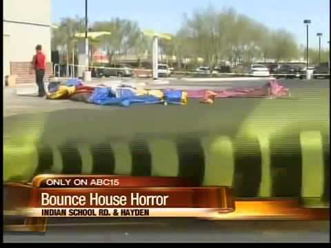 Bounce house with children inside blown away by high winds ...