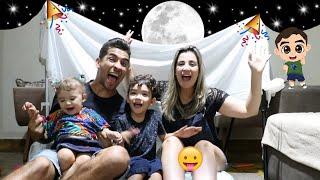 ACAMPAMOS DENTRO DE CASA COM AS CRIANÇAS - ACAMPAMENTO NA SALA DE CASA - Família Rocha