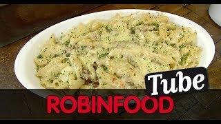 ROBINFOOD / Macarrones con gorgonzola y jamón + Batido de moras
