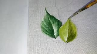 Veja como pintar essa linda folha com verde pistache oliva e branco