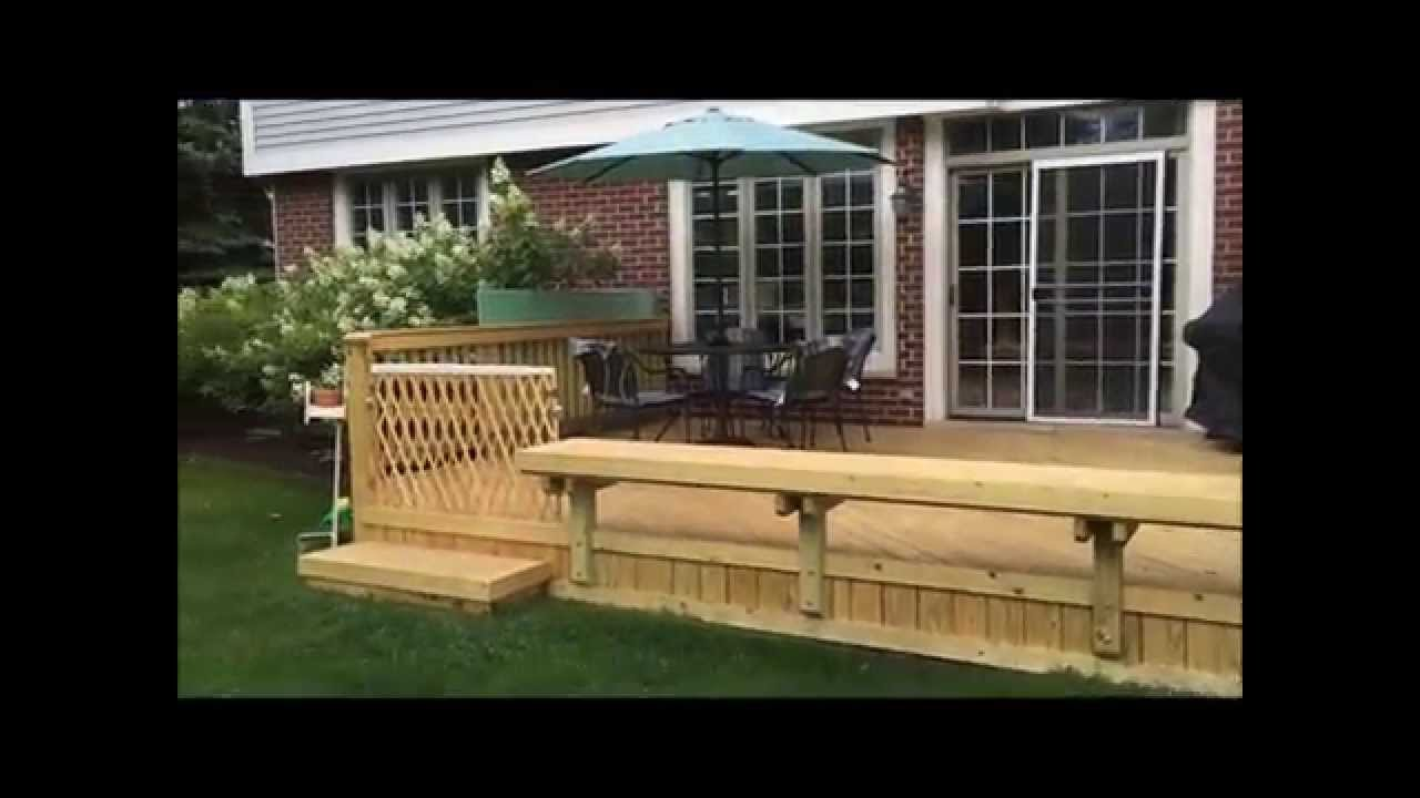 Wood Deck With Built In Bench In Glenview Il Youtube