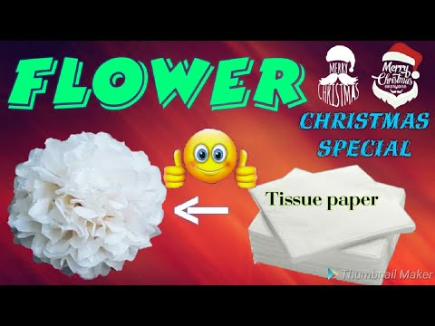 Christmas special || tissue paper flower, last minute craft|| pj mind