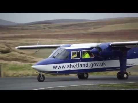 LerwickTingwall Airport landing, Shetland Islands,Directflight Britten-Norman BN-2 Islander