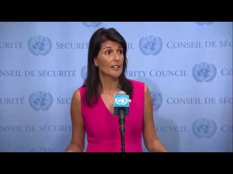 Nikki Haley (USA) on Iran, UNIFIL, Venezuela & other topics - Press Stakeout (25 August 2017)