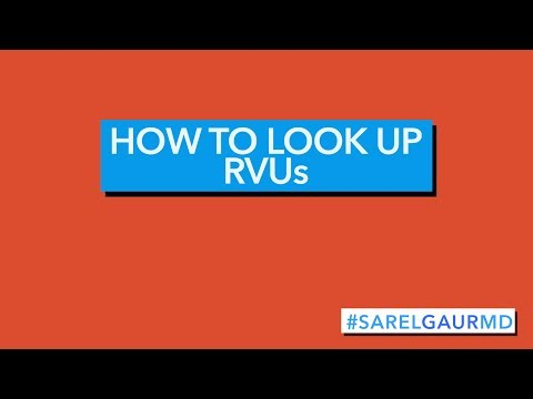 How to look up RVU values and CPT codes