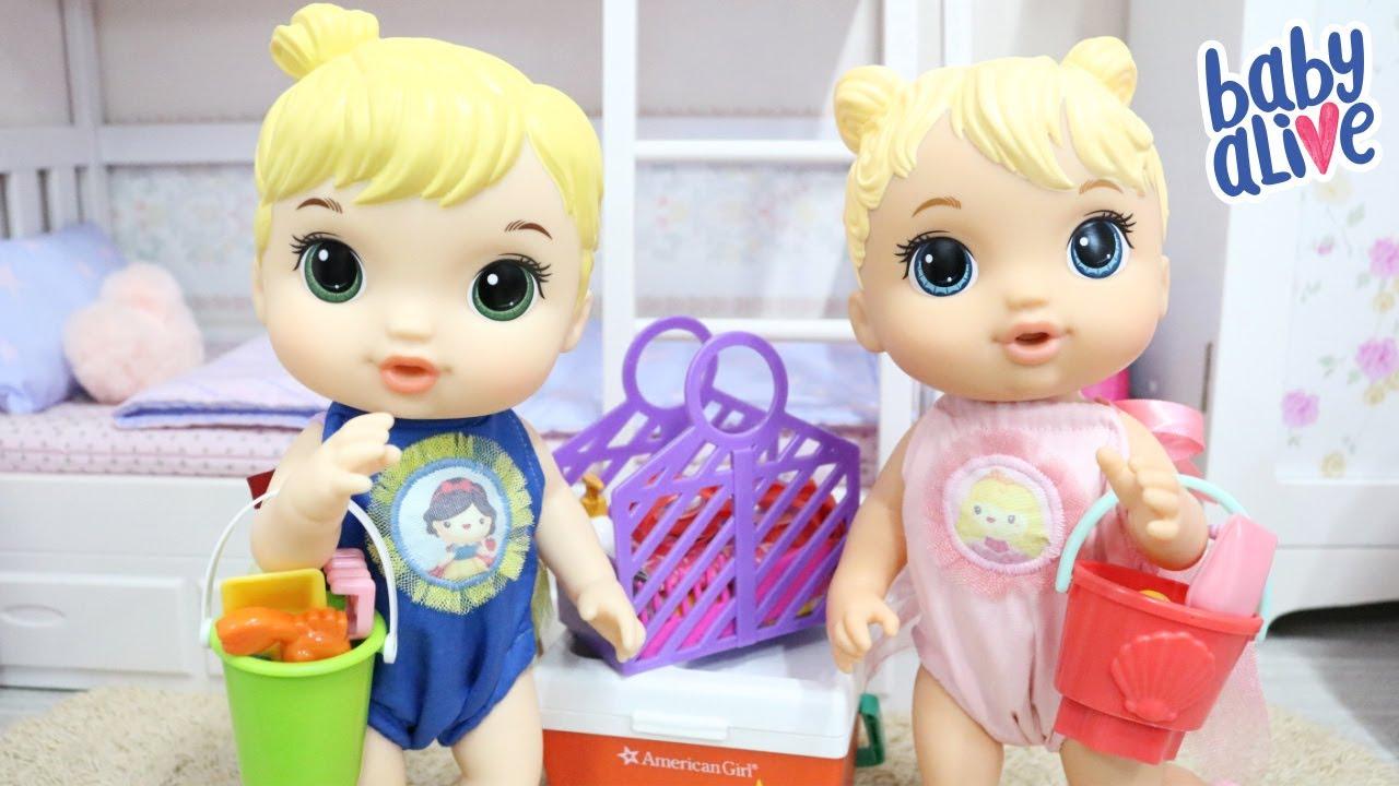 BABY ALIVE GÊMEAS ELIZA E LUIZA VÃO PASSAR O DIA NA PRAIA PRA APROVEITAR O SOL