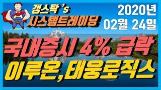 [200224] 코스피 코스닥 4% 내외 급락, 조건검…